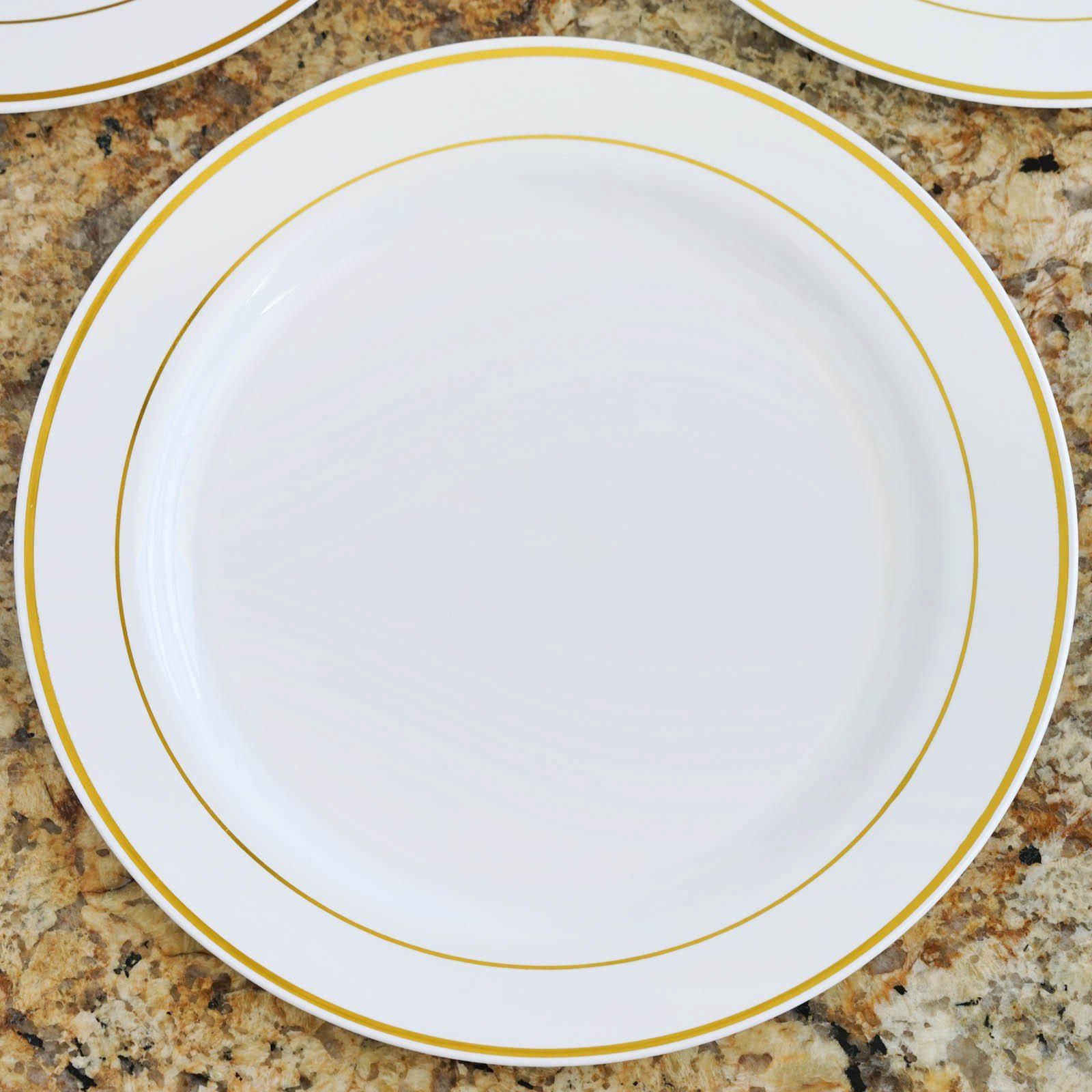 10 Pack - White with Gold 10.25\  Round Disposable Plate - Tres Chic Collection ...  sc 1 st  Tablecloths Factory & 10 Pack 10\